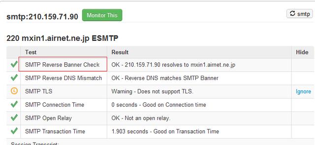 mxtoolboxのSMTP Reverse Banner Checkでエラー: minoproject